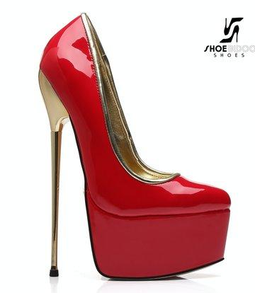 SLICK Red shiny Giaro ultra Fetish platform pumps with gold heels