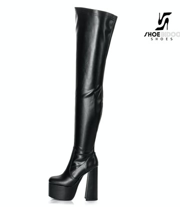 "Ellie Tailor by Giaro Black chunky heel ""Rookie"" thigh boots by Ellie"