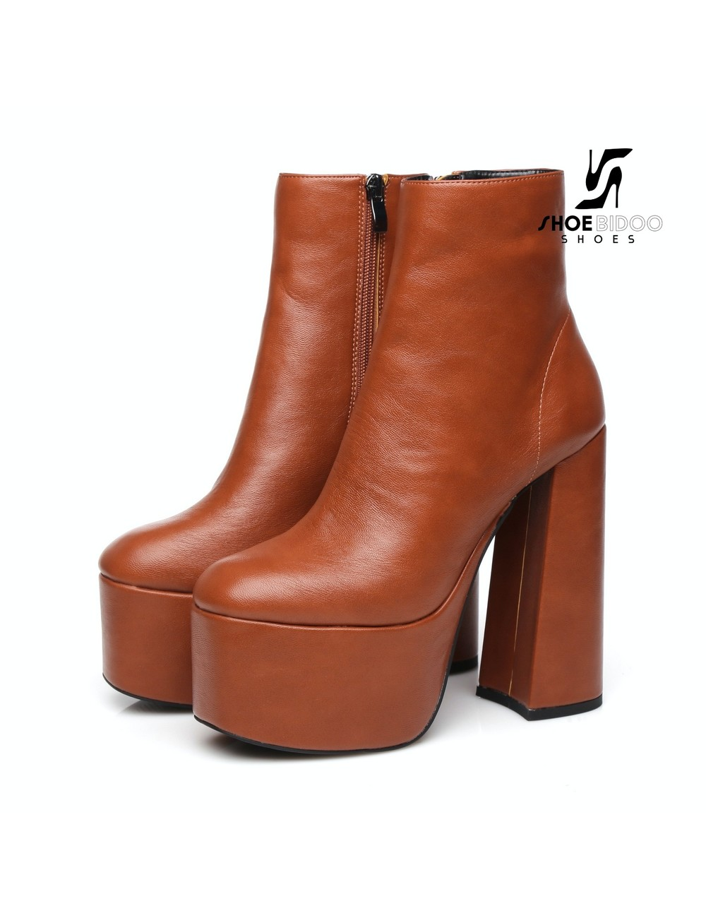 "Ellie Tailor by Giaro Brown chunky heel ""Antonia"" ankle boots by Ellie"