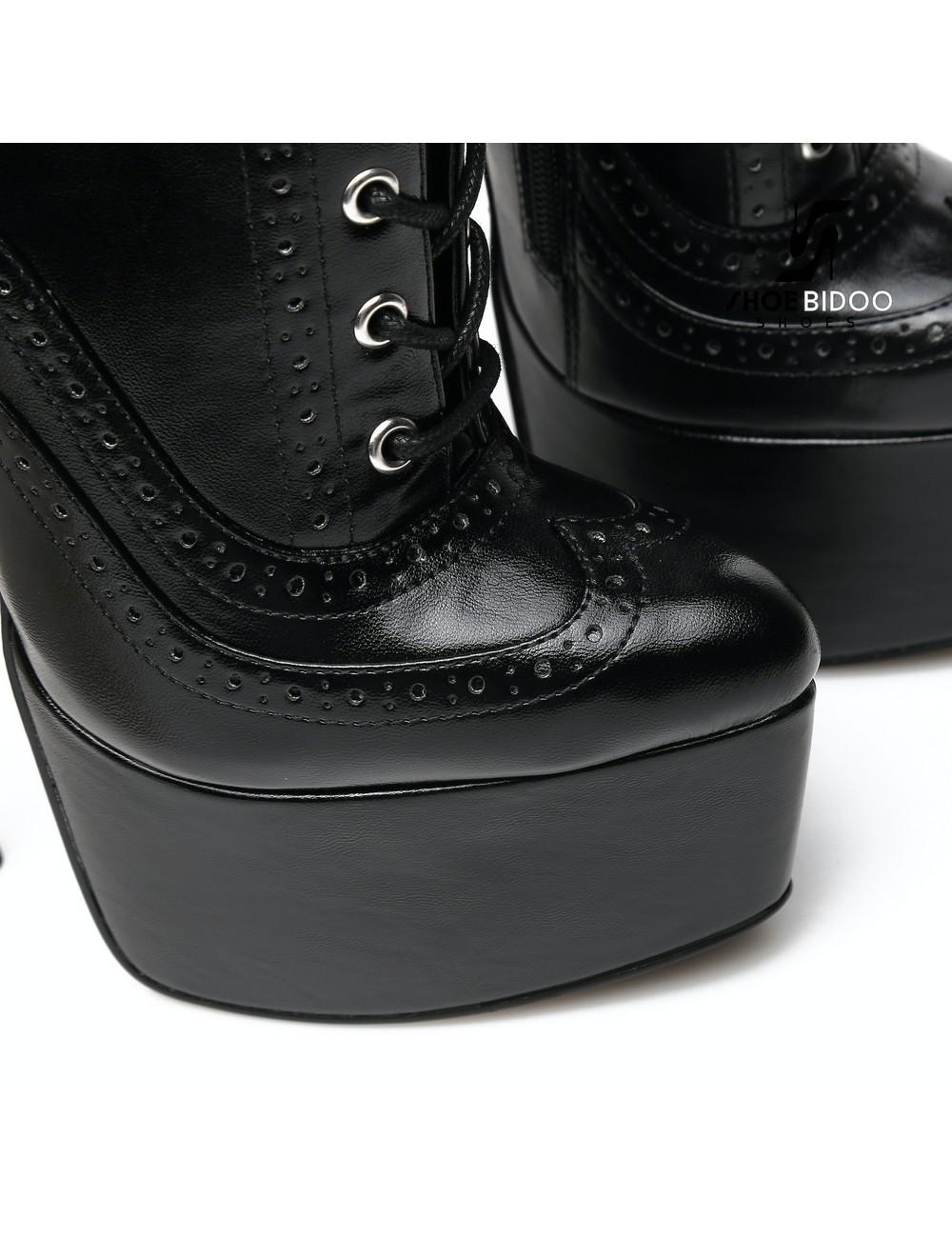 Giaro SLICK Black Giaro SLICK Fetish platform booties with silver heels
