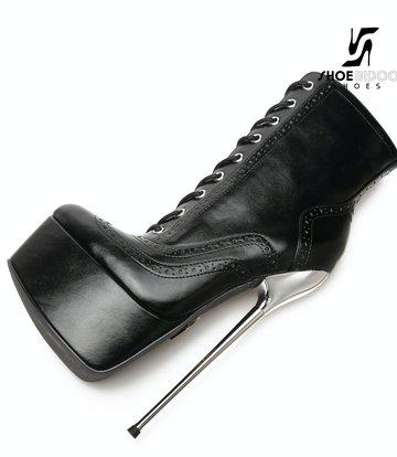Giaro SLICK Zwarte Giaro SLICK Fetish platform rijglaarsjes met zilveren hakken