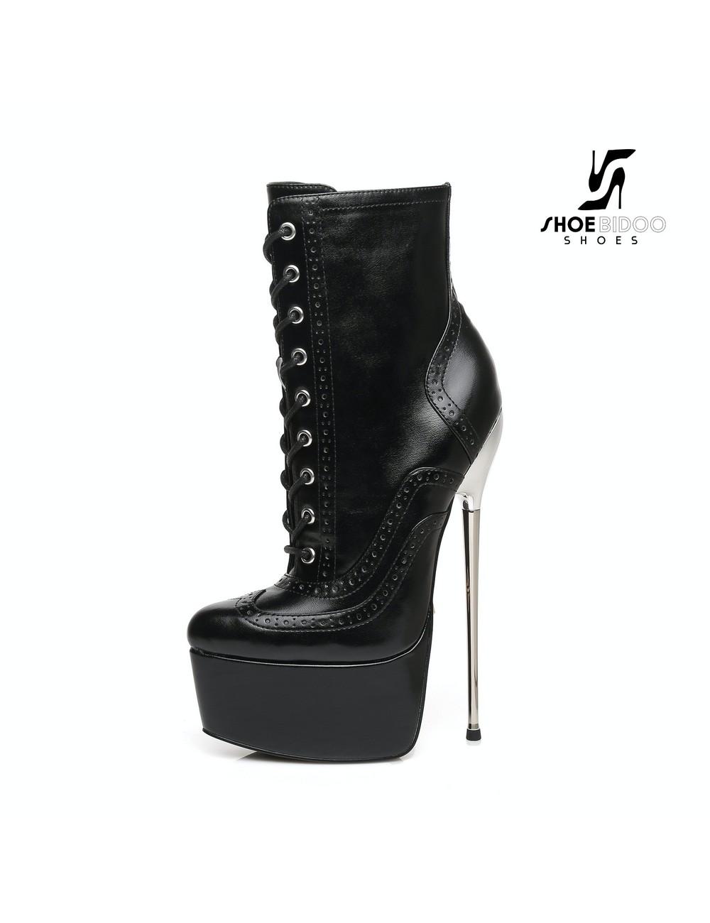 SLICK Black Giaro SLICK Fetish platform booties with silver heels