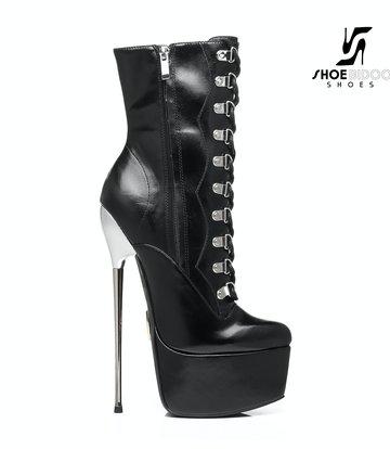 Giaro SLICK Black Giaro SLICK ENZO Fetish platform booties with silver heels