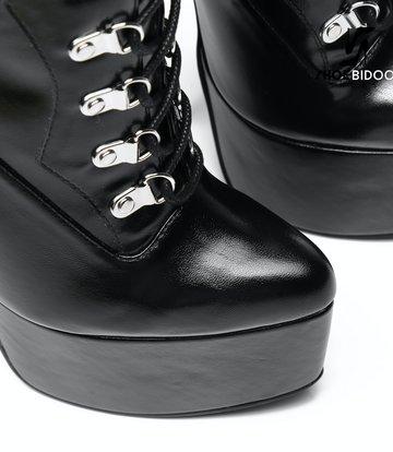 Giaro SLICK Zwarte Giaro ENZO SLICK Fetish platform rijglaarsjes met zilveren hakken