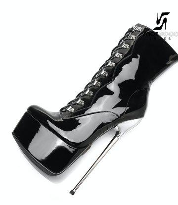 SLICK Zwarte Giaro ENZO SLICK Fetish platform rijglaarsjes met zilveren hakken