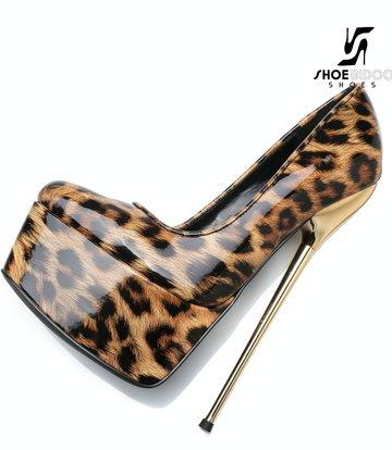 SLICK Leopard glänzende ESCALA Giaro Ultra Fetish Plateau pumps