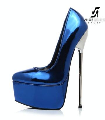 Giaro SLICK Blue liquid shiny Giaro SLICK ESCALA platform pumps with silver heels