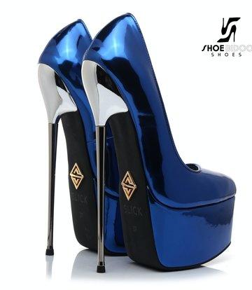 SLICK Blue liquid shiny Giaro SLICK ESCALA platform pumps with silver heels