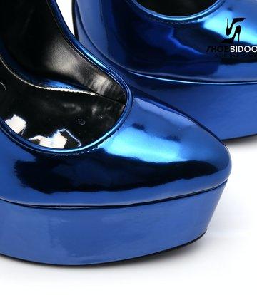 SLICK Blauw glanzende ESCALA SLICK Fetish platform pumps zilveren hakken