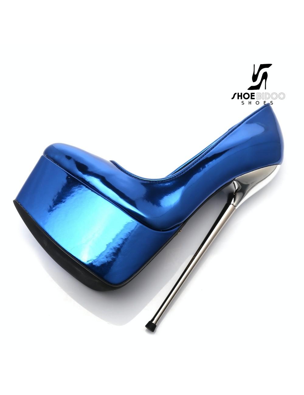 Giaro SLICK Blauw glanzende ESCALA SLICK Fetish platform pumps zilveren hakken