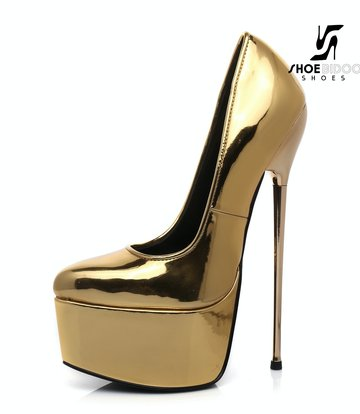 Giaro SLICK Gold glänzende ESCALA Giaro Ultra Fetish Plateau pumps