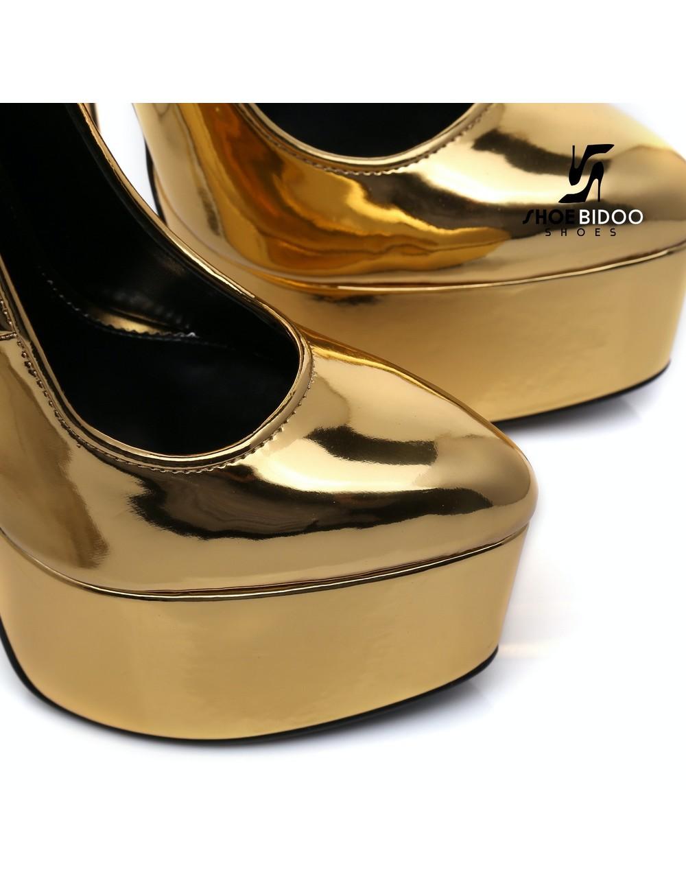 SLICK Gold glänzende ESCALA Giaro Ultra Fetish Plateau pumps