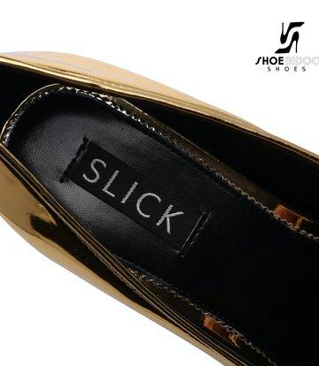 SLICK Gouden glanzende ESCALA SLICK Fetish platform pumps