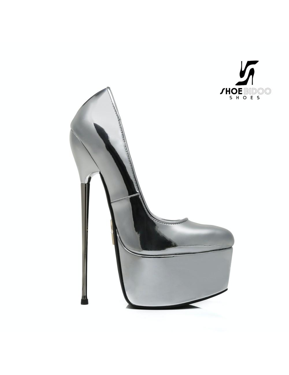SLICK Liquid Silver Giaro SLICK ESCALA platform pumps with silver heels
