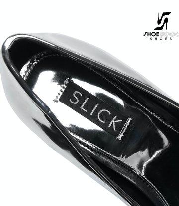 SLICK Silber glänzende ESCALA Giaro Ultra Fetish Plateau pumps