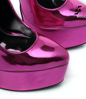 SLICK Liquid FUCHSIA Giaro SLICK ESCALA platform pumps with silver heels
