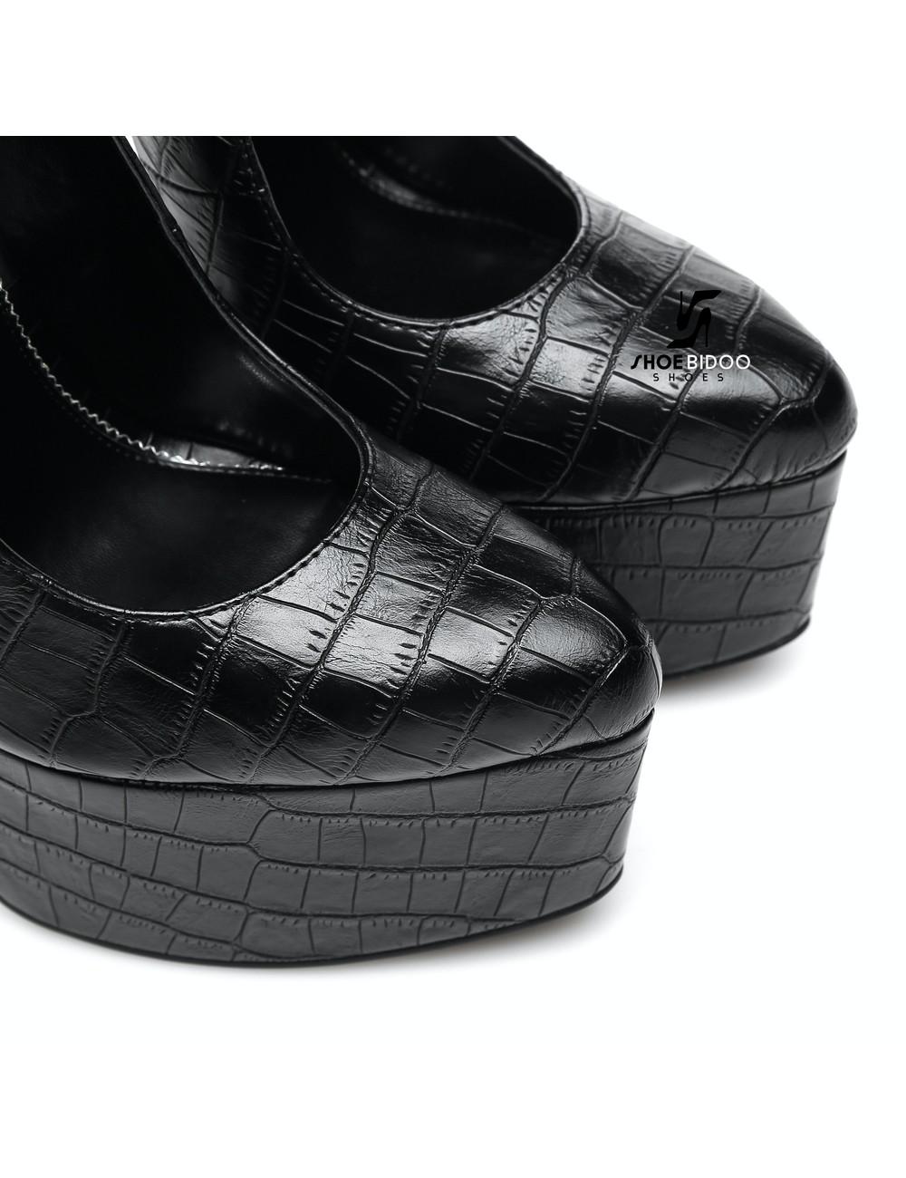 Giaro SLICK Black crocodile ESSENCE Giaro SLICK platform pumps with locking ankle strap