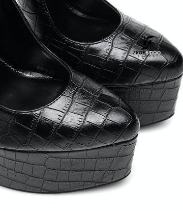 Giaro SLICK Zwart krokodil ESSENCE Giaro SLICK platform pumps met slot enkelbandjes