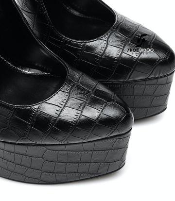 SLICK Schwarze croc ESSENCE Giaro SLICK Plateau-Pumps mit Knöchelriemen