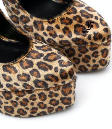 SLICK Leopard print ESSENCE Giaro SLICK platform pumps with locking ankle strap