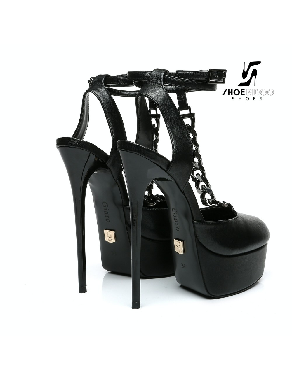 Giaro Black Giaro TWIGA ankle belt and chain sandals