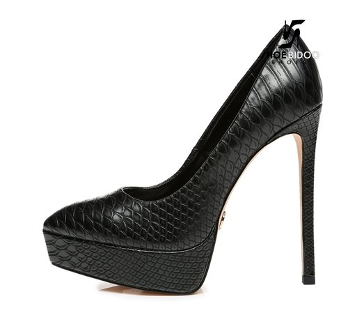 Giaro SCANT | BLACK SNAKE PRINT | PLATFORM FASHION PUMPS
