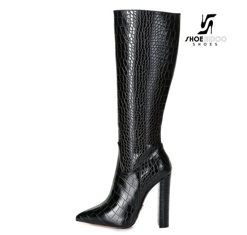 Giaro TAKEN | ZWART CROC | FASHION KNEE BOOTS