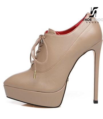 Giaro Giaro Platform lace up pumps SNUG in Taupe with red lining