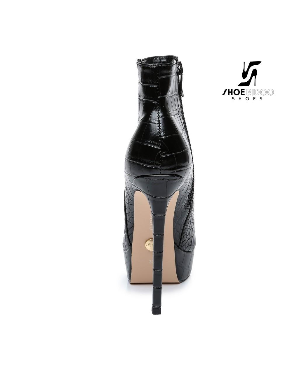 Giaro Giaro Platform ankle boots STACK in black croc print