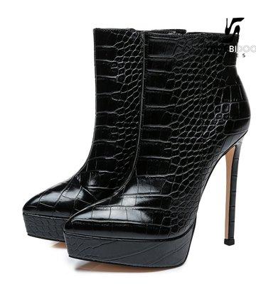 Giaro Giaro Platform Stiefeletten STACK in schwarz croc