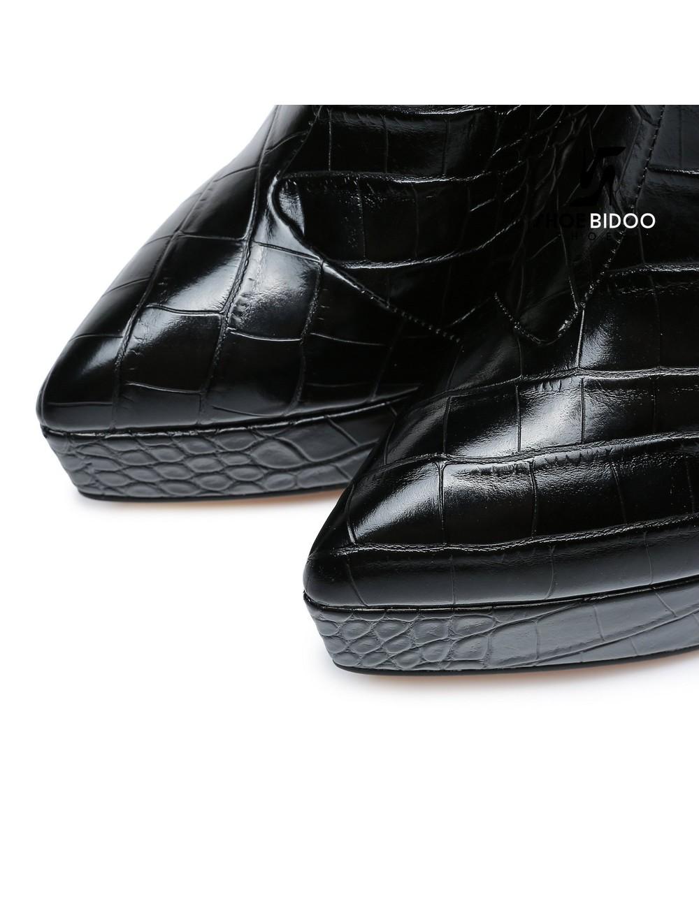 Giaro Giaro Platform enkellaars STACK in zwart kroko print
