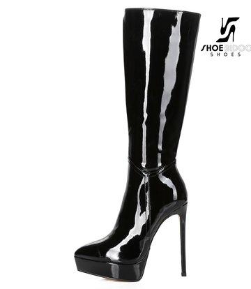 Giaro Giaro Platform knee boots SARAYA in black shiny