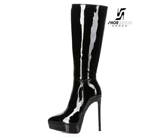 Giaro SARAYA | BLACK SHINY | PLATFORM KNEE BOOT