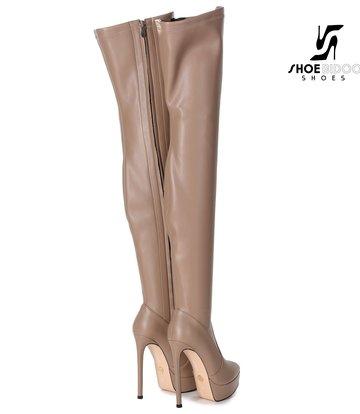 Giaro Giaro Platform thigh boots SPIRE in taupe