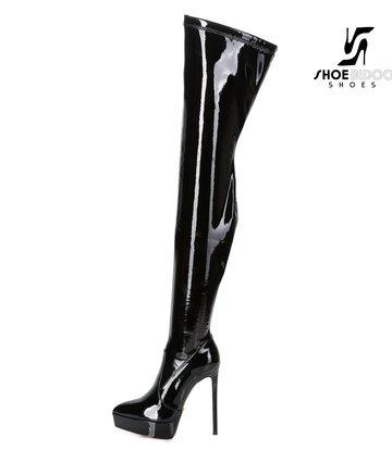 Giaro Giaro Platform thigh boots SPIRE in black shiny