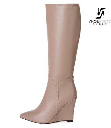 Giaro Giaro knee boots with wedge heel ELLA in taupe