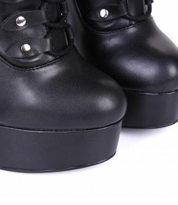 Giaro Zwarte platform kniehoge rijglaarzen met ultra hoge hakken   - OUTLET