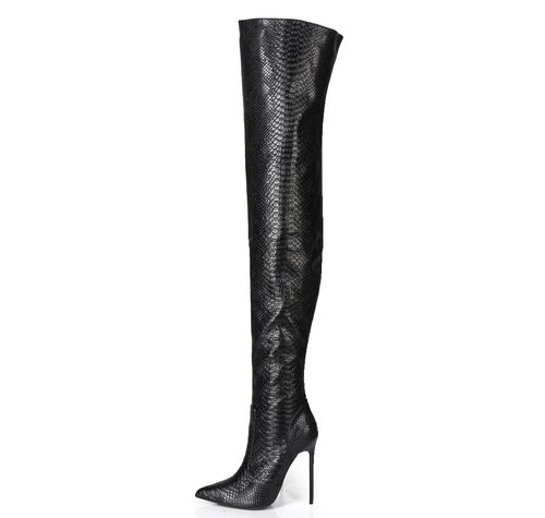 Giaro ZAZU | SNAKE BLACK | THIGH BOOTS - OUTLET