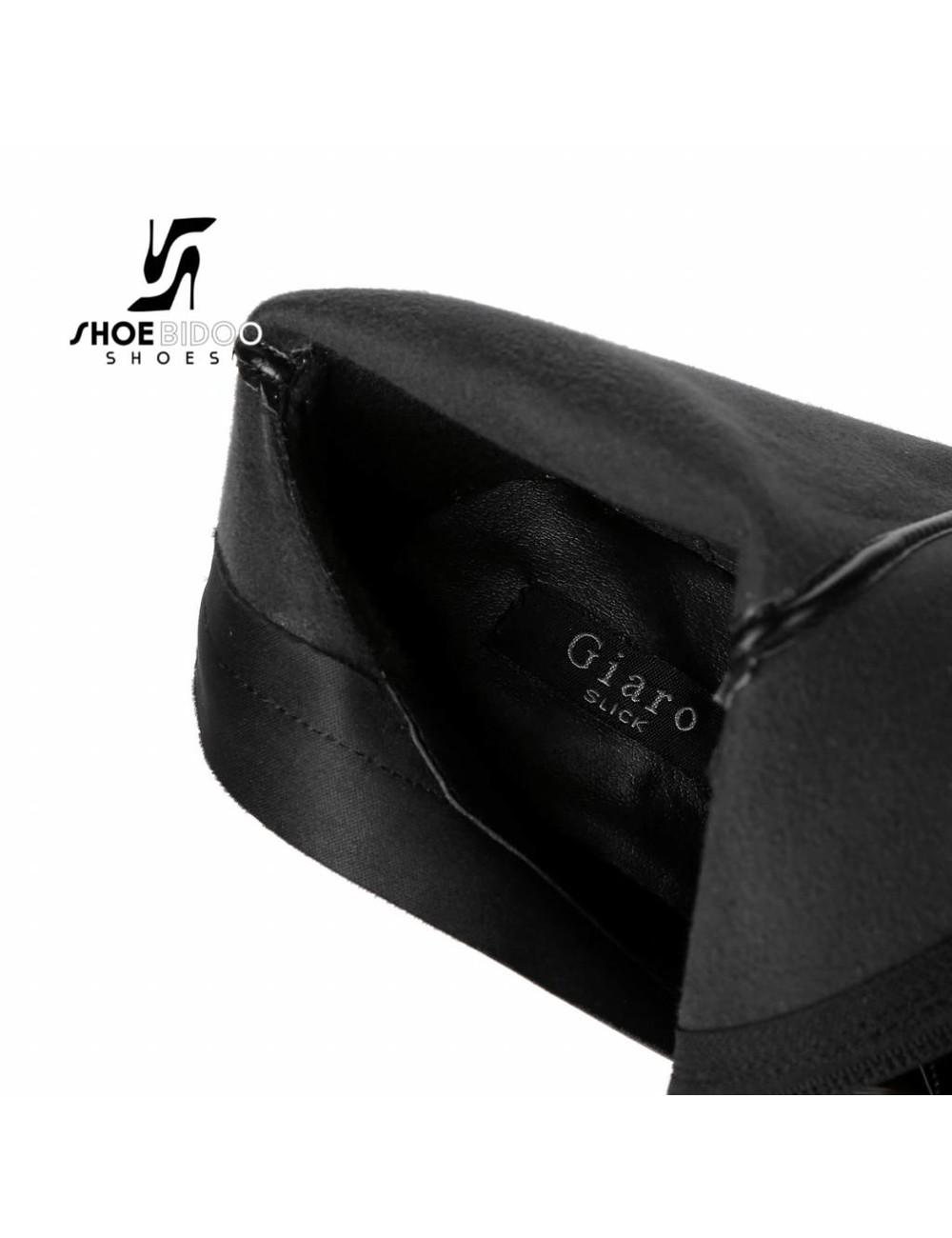Giaro Zwarte lak dijlaarzen met ultra hoge hakken in zilverkleur OUTLET