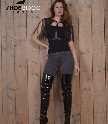 Giaro Black patent thigh boots with ultra high silver metal heels OUTLET