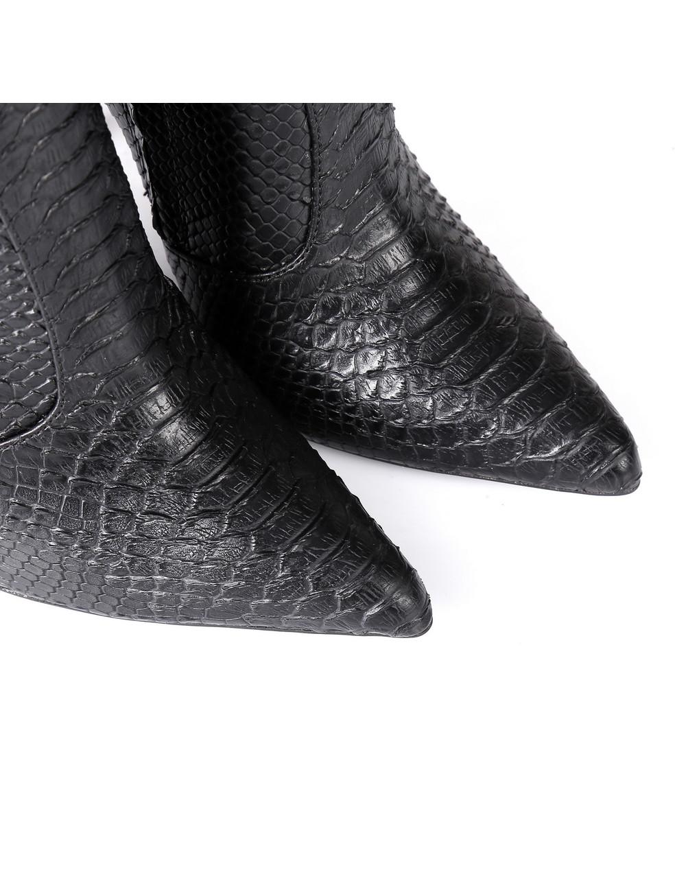 Giaro ZIRA | SNAKE BLACK | KNEE BOOTS | Italian Style -OUTLET