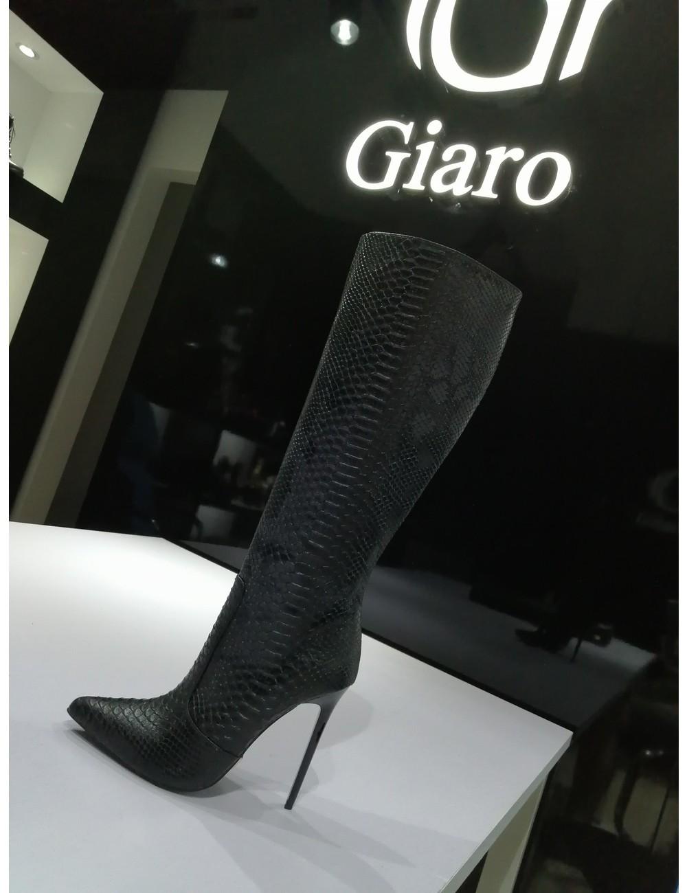 Giaro ZIRA | SLANG ZWART | KNIE LAARZEN | Italiaanse stijl -OUTLET