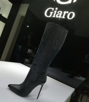 Giaro ZIRA | SCHLANGE SCHWARZ | KNIE STIEFEL | Italienischer Stil -OUTLET