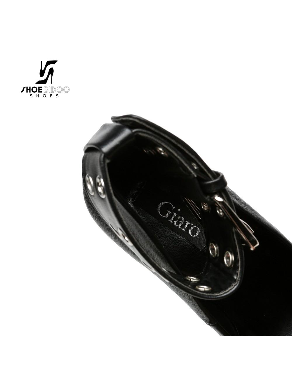 """Giaro Black matte Giaro """"Posessed"""" platform pumps with big belt"""