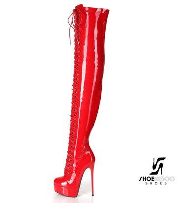 "Giaro Rot glänzende Ultra ""Galana MOUCHARDE"" Overknee-Stiefel mit Schnürung"