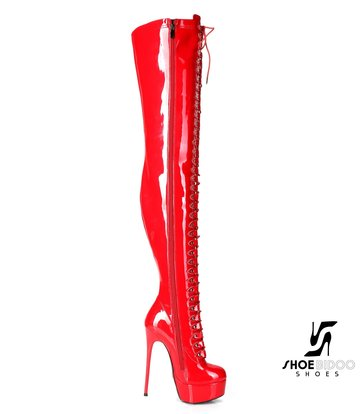 """Giaro Red shiny lace-up ultra """"Galana MOUCHARDE"""" thigh boots"""