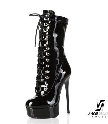 "Giaro Black shiny lace-up ultra ""Galana MIATLA"" ankle boots"