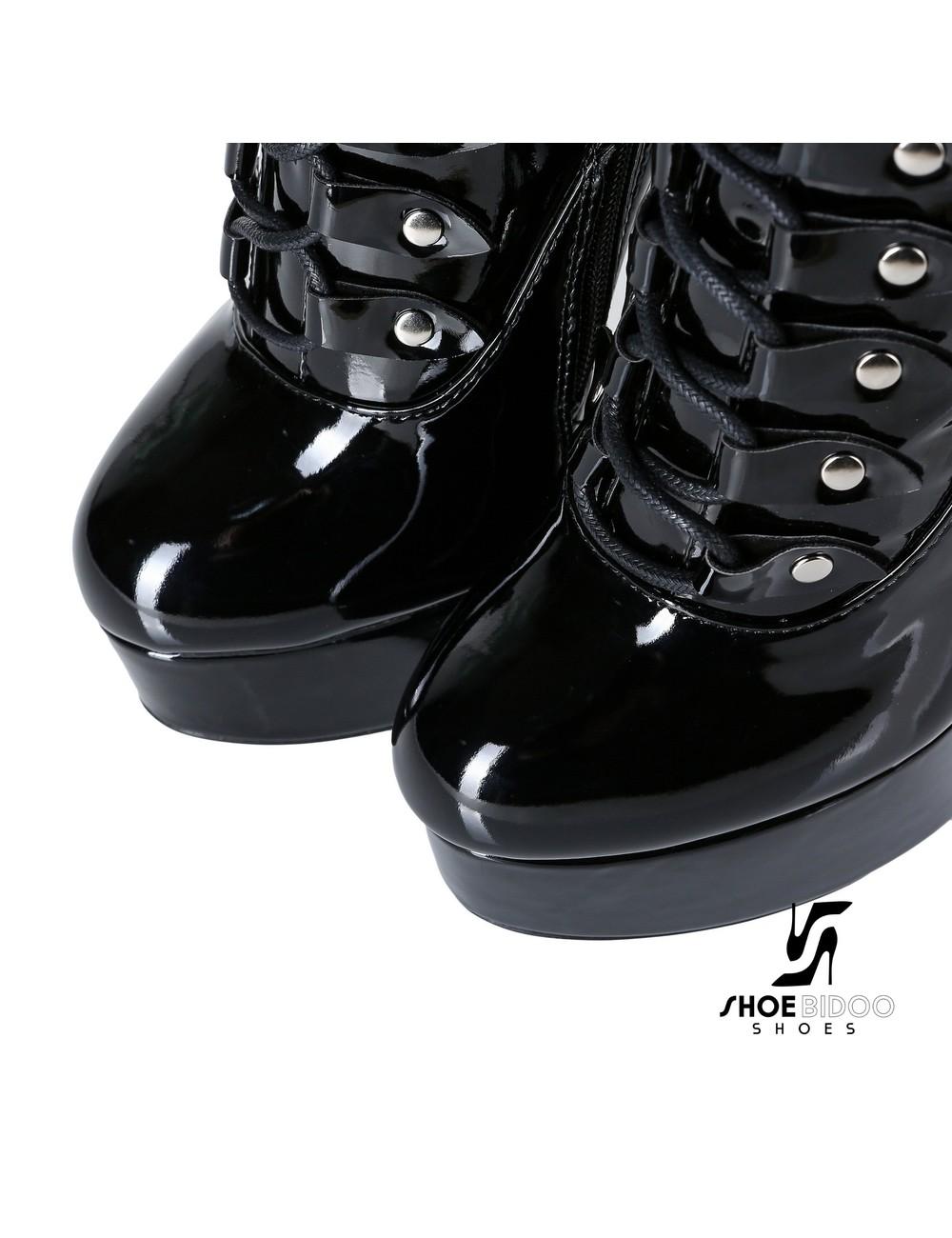 """Giaro Black shiny lace-up ultra """"Galana MAHAUTE"""" knee boots"""