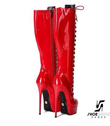"""Giaro Red shiny lace-up ultra """"Galana MAHAUTE"""" knee boots"""