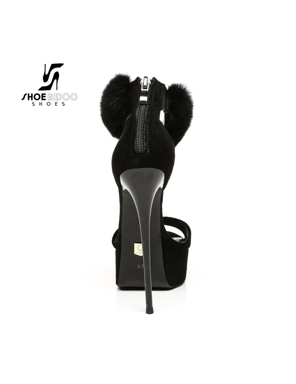 Giaro Zwarte Giaro SWEET LOVE-sandalen met enkelriem van bont